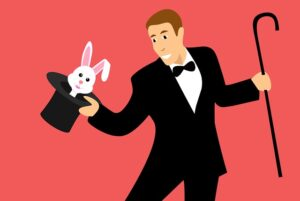 cartoon picture of magician wtih top hat, rabbit and cane